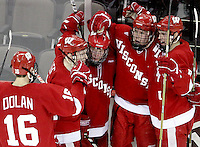 Wisconsin celebrates Jake Gardiner's goal during the first period. No. 16 UNO beat No. 7 Wisconsin 4-3 Saturday night at Qwest Center Omaha. (Photo by Michelle Bishop)