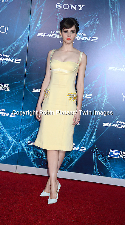 Felicity Jones attends the Premiere of &quot; The Amazing Spider-Man 2&quot; <br /> on April 24, 2014 at The Ziegfeld Theatre in New York City, NY, USA.