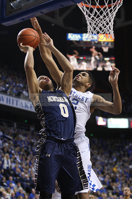 UK forward Karl-Anthony Towns blocks Montana State forward Zach Green from scoring during UK vs. Montana State in Rupp Arena in Lexington, Ky., on Sunday, November 23,  2014. Photo by Emily Wuetcher | Staff