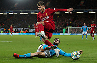 Liverpool's Roberto Firmino is tackled by Napoli's Konstantinos Manolas<br /> <br /> Photographer Alex Dodd/CameraSport<br /> <br /> UEFA Champions League Group E - Liverpool v Napoli - Wednesday 27th November 2019 - Anfield - Liverpool<br />  <br /> World Copyright © 2018 CameraSport. All rights reserved. 43 Linden Ave. Countesthorpe. Leicester. England. LE8 5PG - Tel: +44 (0) 116 277 4147 - admin@camerasport.com - www.camerasport.com