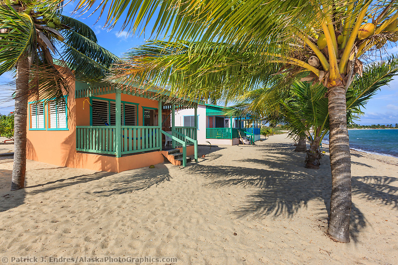 Colorful cabana on a beach in Plancencia, Belize