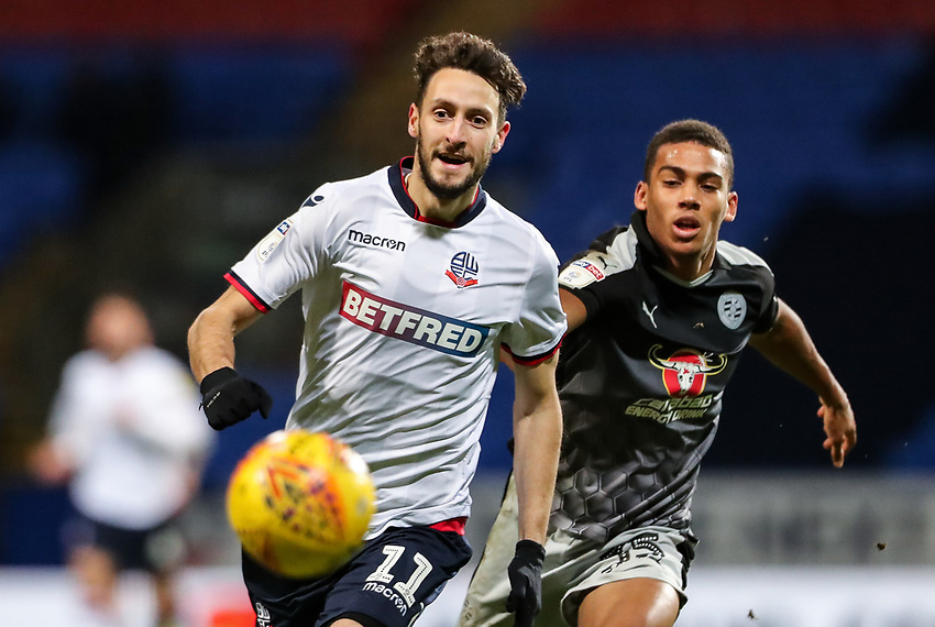 Bolton Wanderers' Will Buckley competing with Reading's Andy Rinomhota   <br /> <br /> Photographer Andrew Kearns/CameraSport<br /> <br /> The EFL Sky Bet Championship - Bolton Wanderers v Reading - Tuesday 29th January 2019 - University of Bolton Stadium - Bolton<br /> <br /> World Copyright © 2019 CameraSport. All rights reserved. 43 Linden Ave. Countesthorpe. Leicester. England. LE8 5PG - Tel: +44 (0) 116 277 4147 - admin@camerasport.com - www.camerasport.com