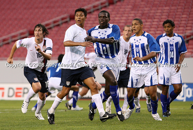 15 March 2008: Michael Orozco (USA) (2nd from left) and Quiarol Arzu (HON) (2) wait for a corner kick. The United States U-23 Men's National Team defeated the Honduras U-23 Men's National Team 1-0 at Raymond James Stadium in Tampa, FL in a Group A game during the 2008 CONCACAF's Men's Olympic Qualifying Tournament.