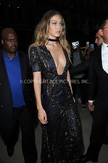 www.acepixs.com<br /> September 8, 2016  New York City<br /> <br /> Gigi Hadid attending the The Daily Front Row's 4th Annual Fashion Media Awards at Park Hyatt New York on September 8, 2016 in New York City. <br /> <br /> <br /> Credit: Kristin Callahan/ACE Pictures<br /> <br /> <br /> Tel: 646 769 0430<br /> Email: info@acepixs.com