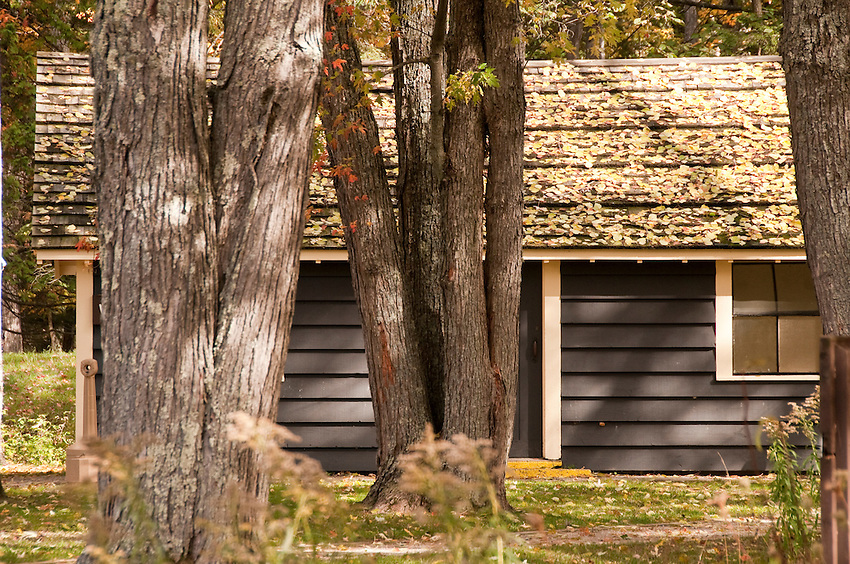 Old building with leaf-covered roof at Palm Book State Park near Manistique Michigan.