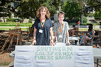 Naomi Brauner, left, and Natalie El-Hai interned at SCPR-KPCC.<br /> 2018 InternLA student participants share their poster presentations about their summer experiences working as interns in Los Angeles. Summer Experience Expo, Sept. 13, 2018 in the Academic Quad. Hosted by Career Services.<br /> (Photo by Marc Campos, Occidental College Photographer)