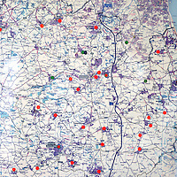 Red dots on a map mark where there are food banks run by the Durham Christian Partnership in association with the Trussell Trust in County Durham. The centres are run by volunteers supported by some full time paid staff. The region has a history of coal mining and industrial decline that has led to chronic levels of unemployment and dependance on sickness benefits today.