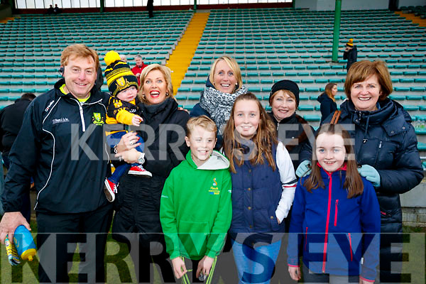 Vince Casey, Eanna Myers, Geraldine Murphy, Colm O'Connor, Sharon O'Connor, Grace O'Connor, Ellen Healy, Aine O'Sullivan and Theresa O'Leary, Dr Crokes supporters pictured at the Garvey's Senior Football Championship, Dr Crokes v South Kerry, at the Austin Stack Park, Tralee on Sunday last.