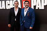 Actors Mario de la Rosa (L) and Jose Manuel Poga attend the photocall of presentation of the third season of serie 'La Casa de Papel'. July 11, 2019. (ALTERPHOTOS/Johana Hernandez)