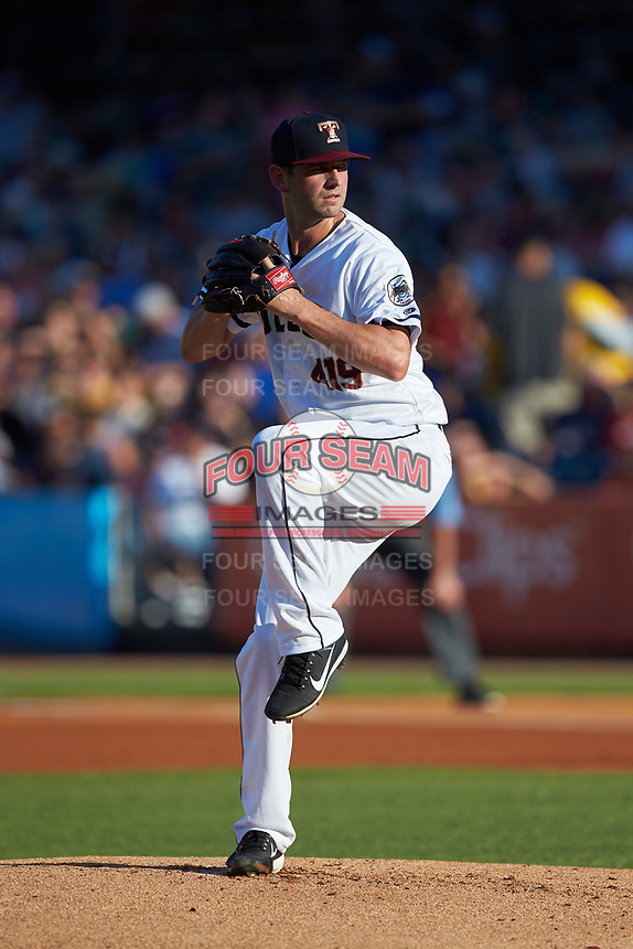 Toledo Mud Hens starting pitcher Jacob Turner (46) in action against the Louisville Bats at Fifth Third Field on June 16, 2018 in Toledo, Ohio. The Mud Hens defeated the Bats 7-4.  (Brian Westerholt/Four Seam Images)
