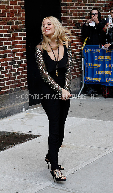 WWW.ACEPIXS.COM . . . . .  ....October 13 2009, New York City....Actress Sienna Miller made an appearance at the 'Late Show with David Letterman' on October 13 2009 in New York City....Please byline: NANCY RIVERA- ACEPIXS.COM.... *** ***..Ace Pictures, Inc:  ..Tel: 646 769 0430..e-mail: info@acepixs.com..web: http://www.acepixs.com
