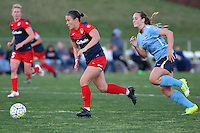 Piscataway, NJ, April 24, 2016.  Christine Nairn (7) of the Washington Spirit dribbles with Ashley Nick (10) of Sky Blue FC in pursuit.  The Washington Spirit defeated Sky Blue FC 2-1 during a National Women's Soccer League (NWSL) match at Yurcak Field.