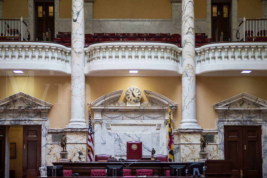 Senate Chamber at the State House, Annapolis, Maryland, USA