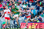 Cian Gammell Kerry in action against Sean McKeever Derry in the All-Ireland Minor Footballl Final in Croke Park on Sunday.