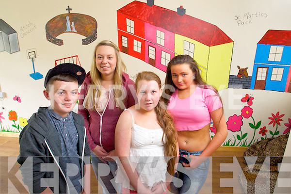 KDYS members completed a mural of parts of the Mitchells regeneration project at the MyProject Centre at Moyderwell, Tralee From left DAniel Mulligan, Gillian Carroll, Marie O'Brien and Theresa O'Neill.KDYS members completed a mural of parts of the Mitchells regeneration project at the MyProject Centre at Moyderwell, Tralee From left DAniel Mulligan, Gillian Carroll, Marie O'Brien and Teresa O'Neill.