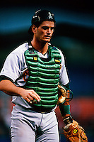 Mike Matheny of the Oakland Athletics participates in a Major League Baseball game at Dodger Stadium during the 1998 season in Los Angeles, California. (Larry Goren/Four Seam Images)