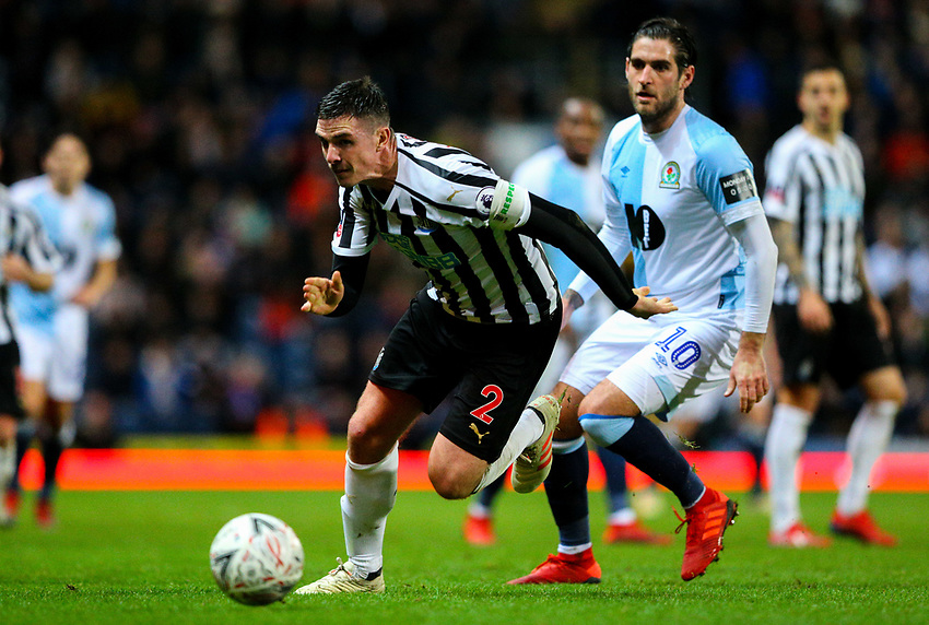 Newcastle United's Ciaran Clark gets away from Blackburn Rovers' Danny Graham<br /> <br /> Photographer Alex Dodd/CameraSport<br /> <br /> Emirates FA Cup Third Round Replay - Blackburn Rovers v Newcastle United - Tuesday 15th January 2019 - Ewood Park - Blackburn<br />  <br /> World Copyright © 2019 CameraSport. All rights reserved. 43 Linden Ave. Countesthorpe. Leicester. England. LE8 5PG - Tel: +44 (0) 116 277 4147 - admin@camerasport.com - www.camerasport.com