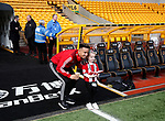 Callum Robinson of Sheffield Utd poses with fan during the Premier League match at Molineux, Wolverhampton. Picture date: 1st December 2019. Picture credit should read: Simon Bellis/Sportimage