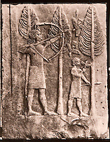 """EXCLUSIVE (b/w photo) Relief depicting the hunting of birds in the woods, from the Palace of Sargon II at Khorsabad, Iraq, Middle East. N° 41 Louvre Museum. Brought by V. Place in 1855. Picture by Victor Place...Additional info :..Khorsabad - Palais de Sargon II - (N.A. pl. 48-2 """"Scène de Chasse"""") - Voir ED Pottier - Antiquités Assyriennes P. 82-83 - pl. 19 - Scène de chasse aux oiseaux - Découverte EP de Longeville 1850. Rapporté par V. Place 1855. N° 41 Musée du Louvre. Cliché V. Place"""