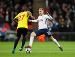 Christian Kabasele of Watford tackled by Christian Eriksen of Tottenham during the premier league match at Wembley Stadium, London. Picture date 30th April 2018. Picture credit should read: David Klein/Sportimage