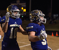 NWA Democrat-Gazette/BEN GOFF @NWABENGOFF<br /> Brandon Ulmer (10) congratulates Booneville teammate Carson Ray (33) after he scored a touchdown in the first quarter against Prescott Saturday, Dec. 1, 2018, during the class 3A state semifinal game at Bearcat Stadium in Booneville.