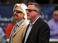 HALLANDALE BEACH, FL - JANUARY 27: Steve Asmussen and Scott Blasi on Pegasus World Cup Invitational Day at Gulfstream Park Race Track on January 27, 2018 in Hallandale Beach, Florida. (Photo by Carson Dennis/Eclipse Sportswire/Getty Images)