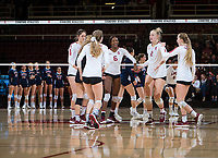 STANFORD, CA - December 1, 2018: Tami Alade, Kathryn Plummer, Jenna Gray, Audriana Fitzmorris, Morgan Hentz, Meghan McClure at Maples Pavilion. The Stanford Cardinal defeated Loyola Marymount 25-20, 25-15, 25-17 in the second round of the NCAA tournament.