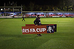 Dover Athletic 2 Cambridge United 4, 17/11/2016. The Crabble, FA Cup first round replay. A groundsman moving signage at the Crabble before National League Dover Athletic hosted League 2 Cambridge United in an FA Cup first round replay. The club was founded in 1983 after the dissolution of the town's previous club Dover FC, whose place in the Southern League was taken by the new club. Cambridge United won the tie by 4-2 after extra time, watched by a crowd of 1158. Photo by Colin McPherson.
