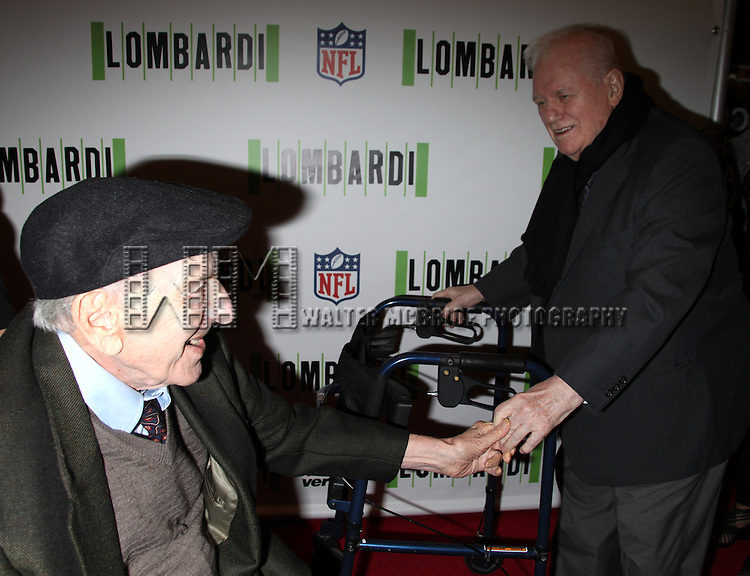 "Jack Klugman & Charles Durning.attending the Opening Night Performance of ""LOMBARDI"" at Circle in the Square Theatre in New York City. October 21, 2010.."