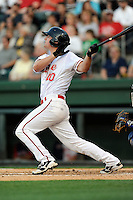 Left fielder Zach Kapstein (40) of the Greenville Drive bats in a game against the Lexington Legends on Thursday, April 24, 2014, at Fluor Field at the West End in Greenville, South Carolina. Greenville won, 9-4. (Tom Priddy/Four Seam Images)
