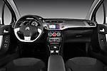 Straight Dashboard view of 2010 Citroen C3 Exclusive 5 Door Hatchback Stock Photo