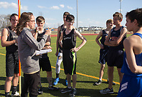 NWA Democrat-Gazette/CHARLIE KAIJO Coach Stephanie Kerkhover orients pole vaulters during the Tiger Relays track meet, Friday, March 16, 2018 at the Tiger Athletic Complex in Bentonville.