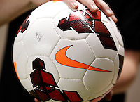 A soccer ball is held before a game against Real Salt Lake and D.C. United at the U.S. Open Cup Final on October  1, 2013 at Rio Tinto Stadium in Sandy, Utah.
