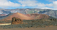 Cinder cones and remnants of an aa lava flow in the crater of Haleakala National Park on Maui in Hawaii USA