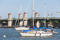Sailboats anchored on the Matanzas River near the Bridge of LIons in St. Augustine, Florida.