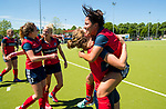 NIJMEGEN -  Vreugde bij Huizen , met Eva den Hartog (Huizen)  en Mirte Jansen (Huizen)   na   de tweede play-off wedstrijd dames, Nijmegen-Huizen (1-4), voor promotie naar de hoofdklasse.. Huizen promoveert naar de hoofdklasse.  COPYRIGHT KOEN SUYK