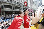 (L-R) Misaki Matsutomo, Ayaka Takahashi (JPN), OCTOBER 7, 2016 : Japanese medalists of Rio 2016 Olympic and Paralympic Games wave to spectators during a parade from Ginza to Nihonbashi, Tokyo, Japan. (Photo by Yosuke Tanaka/AFLO)