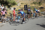 Nairo Quintana (COL) and Alejandro Valverde (ESP) Movistar Team descend Sierra de la Alfaguara after Stage 4 of the La Vuelta 2018, running 162km from Velez-Malaga to Alfacar, Sierra de la Alfaguara, Andalucia, Spain. 28th August 2018.<br /> Picture: Eoin Clarke   Cyclefile<br /> <br /> <br /> All photos usage must carry mandatory copyright credit (&copy; Cyclefile   Eoin Clarke)