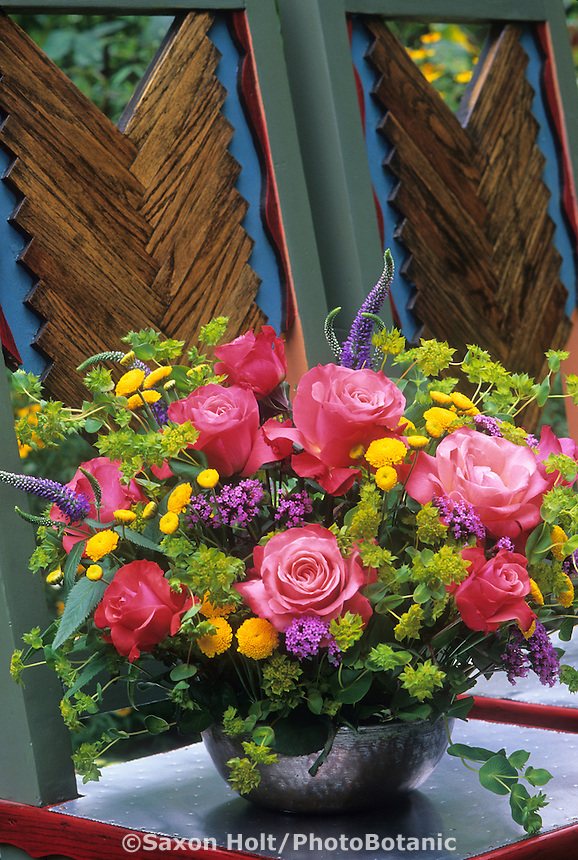 Colorful bouquet with Rose 'Maggy Barry'