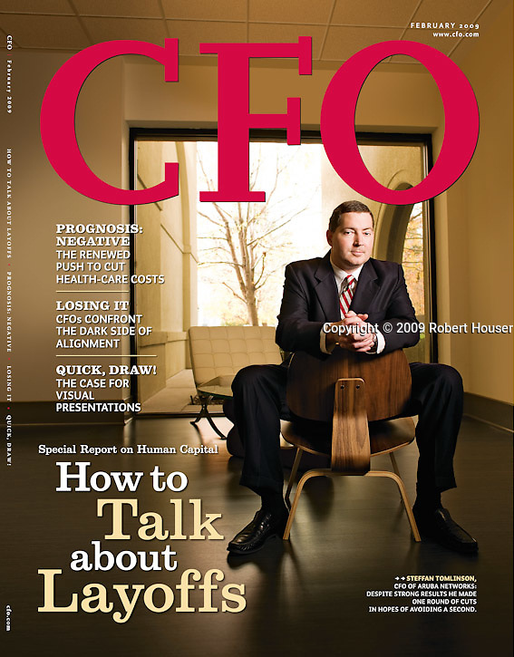 CFO magazine cover feature : Tearsheets by San Francisco Bay Area - corporate and annual report - photographer Robert Houser. 2009 pictures.