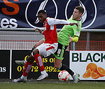 Amari Bell of Fleetwood Town  tackled by Paul Coutts of Sheffield Utd - English League One - Fleetwood Town vs Sheffield Utd - Highbury Stadium - Fleetwood - England - 5rd March 2016 - Picture Simon Bellis/Sportimage