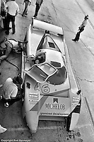"The distinctive ""lobster claw"" front end of the March 82G is easily seen in this overhead view in the Sebring pit lane in 1982. Bobby Rahal qualified this car on the pole and, with co-drivers Jim Trueman and Maurico DeNarvaez, finished the race in 2nd place."