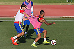 Spanish Alvaro Morata and Thiago Alcantara during the first training of the concentration of Spanish football team at Ciudad del Futbol de Las Rozas before the qualifying for the Russia world cup in 2017 August 29, 2016. (ALTERPHOTOS/Rodrigo Jimenez)