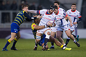 9th December 2017, AJ Bell Stadium, Salford, England; European Rugby Challenge Cup, Sale Sharks versus Cardiff Blues; Sale Sharks' Andrei Ostrikov is tackled