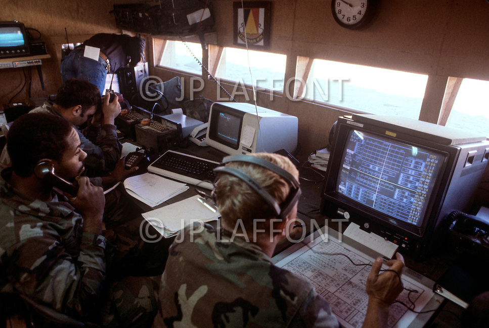 Fort Irwin, California - September 17, 1985. U.S. military personal monitor tank training at the headquarters of the National Training Center located in the Mojave Desert. Opened on October 16, 1980, this facility is the primary training area for the United States Military.