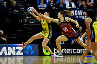 Pulse&rsquo; Whitney Souness and Tactix&rsquo; Jess Maclennan in action during the ANZ Premiership - Pulse v Tactix at TSB Arena, Wellington, New Zealand on Monday 14 May 2018.<br /> Photo by Masanori Udagawa. <br /> www.photowellington.photoshelter.com