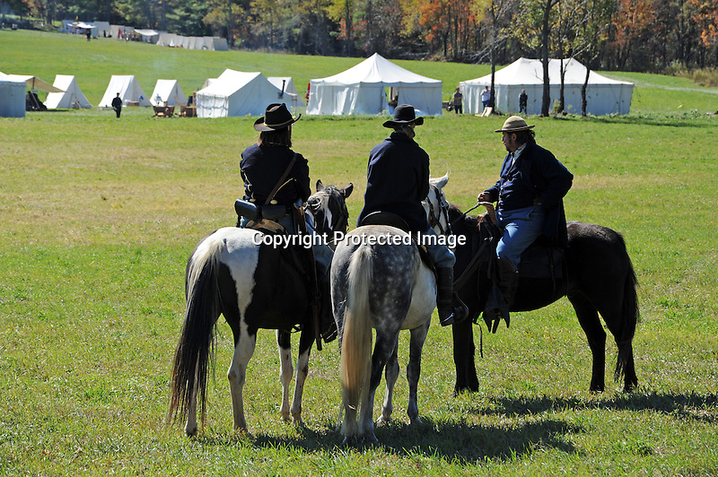 Civil War Reenactment Union Army Cavalry Soldiers Ready for Battle
