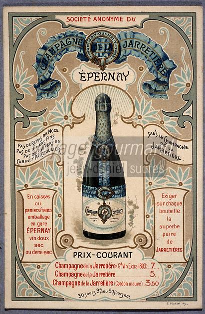 Europe/France/Champagne-Ardenne/51/Marne/Epernay: Musée municipal - Champagne de la Jarretière - Carte des tarifs