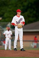 Auburn Doubledays relief pitcher Chandler Day (36) gets ready to deliver a pitch during a game against the Lowell Spinners on July 13, 2018 at Falcon Park in Auburn, New York.  Lowell defeated Auburn 8-5.  (Mike Janes/Four Seam Images)