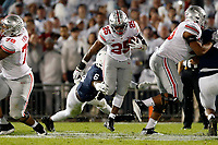Ohio State Buckeyes running back Mike Weber Jr. (25) gets tackled Penn State Nittany Lions linebacker Cam Brown (6) in the 2nd quarter of their NCAA football at Beaver Stadium in University Park, Pa. on September 29, 2018.  [Kyle Robertson/Dispatch]